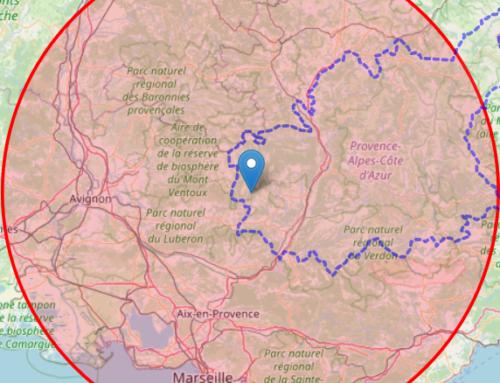 Carte : Etes-vous dans le rayon de 100 km autour de Valsaintes